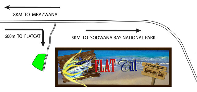 Map and directions to Flat Cat accommodation in Sodwana Bay
